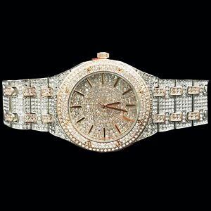 Captain Bling's White & Rose Gold  Finish Watch for Men, lab created Diamond N