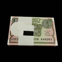Lot 100 PCS, India 1 Rupee, 2015-2017, P-108 New, UNC, Bundle