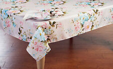 "Blush Pastel Floral Spring Decor Tablecloth 70"" ROUND Feminine Chic Flair"