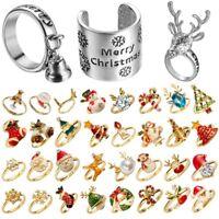 Women Crystal Christmas Tree Snowflake Flower Adjustable Finger Rings Jewellery