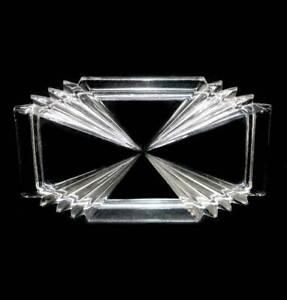 Vintage clear depression glass art deco geometric pretty dressing table tray