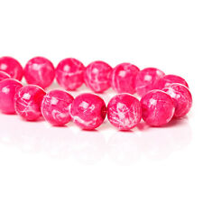 100 Round Glass Beads, hot pink with white, marble pattern, 8mm bgl0923