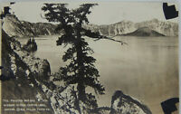 Vintage RPPC Phantom Ship Crater Lake Wizard Island, Crater Lake OR w/rare stamp