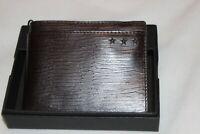 John Varvatos Men's Brown Genuine Leather Star Gommet Billfold Wallet NIB $88