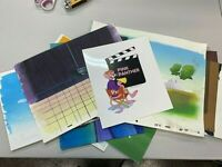 LOT OF 8 PINK PANTHER PRODUCTION BACKGROUNDS-HAND PAINTED CEL STUDIO PROMO 10479
