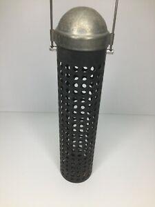 Vintage Bird Feeder Metal Cylinder Tube Hanging Pipe Industrial Style