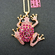 Hot Rose Pink Rhinestone Cute Frog Pendant Betsey Johnson Chain Necklace Gift