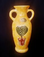 Hand Made Painted Pottery Yellow Ground Amphora Vase 7 Inch | FREE Delivery UK*