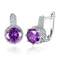 4 3/4 ct Natural Amethyst Earrings with Crystals in Silver
