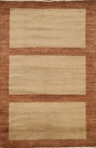 Contemporary Geometric Gabbeh Oriental Area Rug Hand-Knotted Wool Carpet 4x7 New