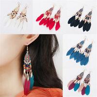 Women's Bohemian Earrings Long Tassel Fringe Boho Feather Dangle Jewelry Gift