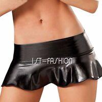 Sexy Women's Babydoll PU Leather Mini Dress Metallic Wet Look Bodycon Club Skirt