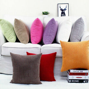 Simple Soft Thick Velvet Checked Both Sides Deco Throw Pillow Case Cushion Cover