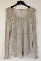 Free People Cream Beige Cotton Knit Lace Back Detail Sweater Top Sz XS Nice!