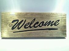 Rustic Engraved Wooden 2 Sided Novelty 'Welcome / Please # Off' Gate Sign