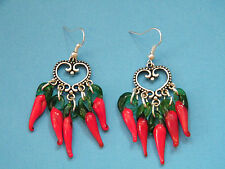 HEART EARRINGS RED GLASS CHILI PEPPERS FILIGREE HEART SILVER PLATED WIRES NEW!