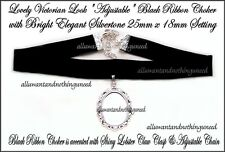2 Shiny SILVERTONE Adjustable BLACK RIBBON CHOKERS SETTING for 25mm x 18mm CAMEO
