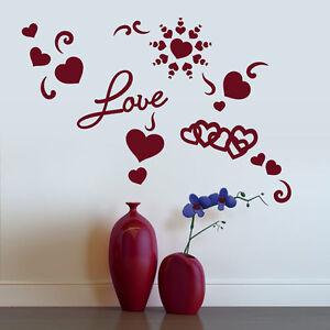 Wandtattoo Herz Liebe Love Herzen Aufkleber Dekorset Wall Wand Tattoo #2060