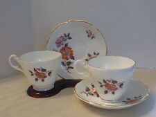 Royal Ascot  Cup & Saucer Pair(2) Made in England Vintage White / Floral Pattern