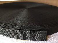 45 Meters Black Nylon Webbing Tape 25mm Wide