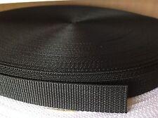 50 metros de cinta negra de nylon cinta 25mm Ancho