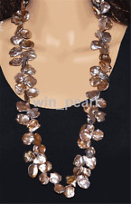 "freshwater pearl Necklace 30"" purple 15mm reborn keshi"