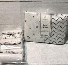 TL Care Playard Sheets 2ct Gray  & Waterproof Changing Pad Liners 3 Pack No Box