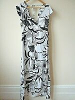 New Womens Ex River Island White with Black Abstract Print Maxi Dress Size 8-14