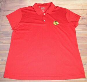 Adidas Climalite NHL Chicago Blackhawks Short Sleeve Polo Shirt Women Large Red