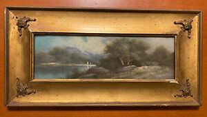 Antique Pastel Landscape Painting In Gilt Gesso Frame Circa 1900 20X10 Unsigned