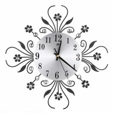 Modern Luxury 3D Wall Clock Metal Diamonds Flower Silent Home Office Living Roo