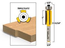 """1"""" X 1/2"""" Diameter Triple Flute Flush Trim Router Bit-1/4"""" Shank - Yonico 14943q"""