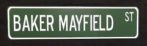 """Baker Mayfield 24"""" x 6"""" Aluminum Street Sign Cleveland Browns NFL Football"""