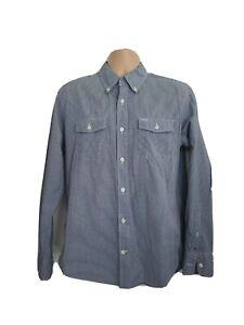 Tommy Hilfiger Mens Medium Vintage Blue Black White Check Shirt