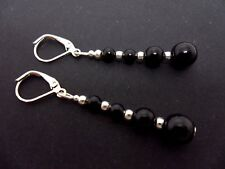 A PAIR OF DANGLY BLACK ONYX  SILVER PLATED  LEVERBACK HOOK  EARRINGS. NEW.