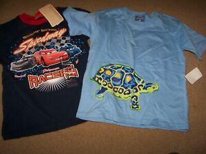 NWT Lot 2 s/s Shirts Boy's 5 6 ~ Disney Cars ~ Turtle ~ Blue ~
