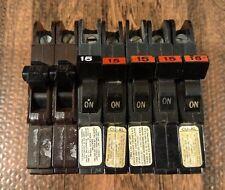 FEDERAL PACIFIC Circuit Breaker 1 Pole 15A NC115 Stab-Lok, 120v/240v Thin- Used