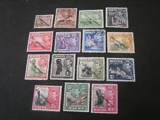 "MALTA, SCOTT # 208-222(15), COMPLETE 1948 KGV1 OVPT ""SELF GOVERNMENT"" ISSUE USED"