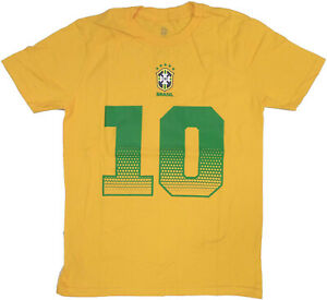 Outerstuff Youth Brazil Neymar Jr. #10 Name and Number Jersey T-shirt, Gold