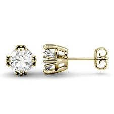 2Ct Round Brilliant Cut Moissanite Diamond Earrings Stud 14k Yellow Gold Women