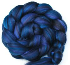 Raven Custom Blend Merino and Mulberry Silk Combed Top Wool Roving for Spinning