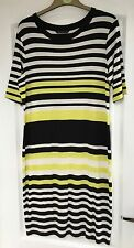 """M&S Collection"" Women's Dress, Size 14, Lime/Black/White, Stretch, Exc Cond"