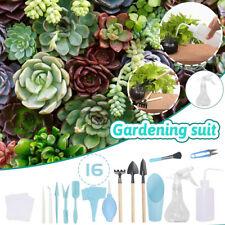 16 pcs Mini Gardening Tool Set Succulent Plants Tools Garden Plant Care Kit Blue