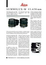 ORIGINAL LEICA PRODUCT INFORMATION SHEET SUMMILUX-M F/1.4 50MM LENS