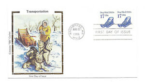 "2135 17c Dog Sled 1920s Transportation series, Colorano ""Silk"" Cachet FDC"