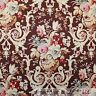 BonEful Fabric FQ Cotton Quilt Brown Blue Pink Flower Damask Cottage Shabby Chic