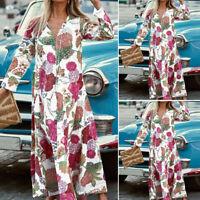 UK Women Long Sleeve Floral Retro Beach Party Dress Casual Summer Maxi Dresses
