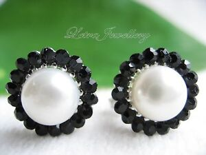 AAA 8mm White Cream Real Freshwater Pearl Round Sunflower Stud Earrings Gifts