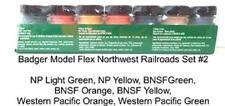 Badger Model Flex 1716 Northwest Railroads #2  (7) 1 oz Acrylic Paint Bottle Set