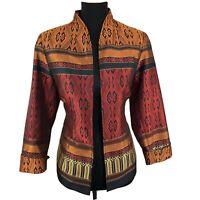 Coldwater Creek Womens Jacquard Jacket Blazer Metallic Sz P10 Petite 10 Medium
